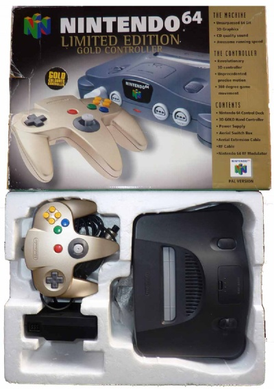 N64 Console + 1 Gold Controller (Boxed) - N64